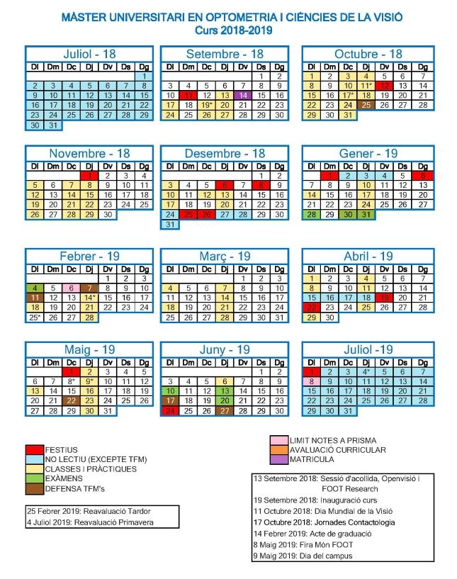 Calendario MUOCV 2018-19