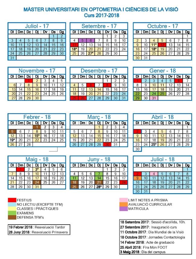 Calendario MUOCV 2017-18