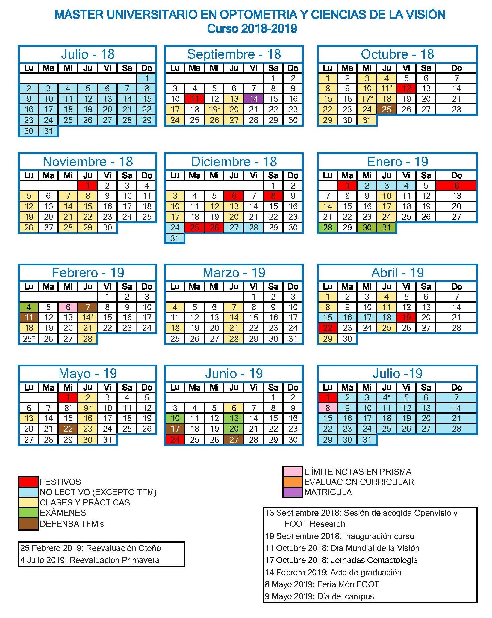 Calendario MUOCV 2018-2019
